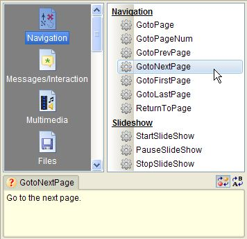 Select an action dialog